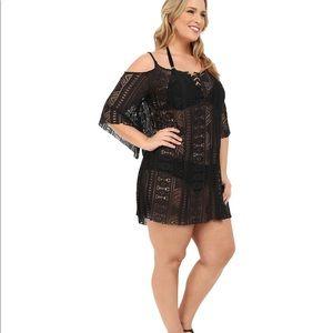 Becca black lace up off shoulder coverup